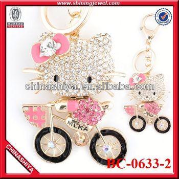 Hot sale promotional rhinestone key rings fobs