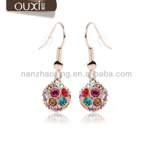 OUXI jewelry cheap hoop earrings 18k gold plated jewelry made with Austrian Crystals