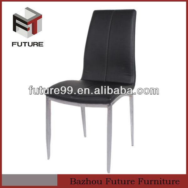 modernes en cuir noir et chrome chaise salle à manger