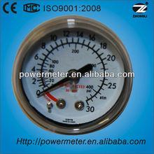 Y40D-40mm medical oxygen pressure gauge/black steel case/back type with brass connection
