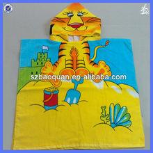 100% Cotton kids poncho/reactive printing poncho/kids hooded towel