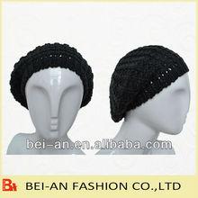 Senhoras de moda acrílico malha confortável boina e chapéu