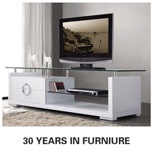 modern tv stand / modern wood tv stands with glass top / modern glass tv stand with wood bottom E-121