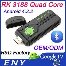 New model UG007B Quad Core Android 4.2 RK3188 smart tv box 2GB/8GB Bluetooth WIFI HDMI mini pc tv stick