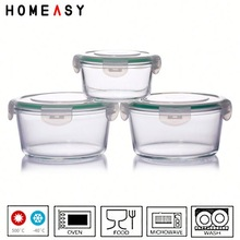 3-pcs set stackable glass food container set