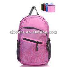 Big size fold up travel bag pink with side mesh pocket