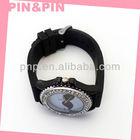 customized economical black pvc daimond edge watch
