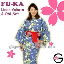 Japan Kimono Online Shop colorfastness non shrinkable uniform pajamas Sakura Blue Ladies Men Kids Linen Yukata Kimono Bathrobes