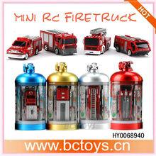 Latest Style 1:43 4ch mini fire fighting trucks coke can mini rc car HY0068940