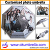 Clear Design Cheap Print Custom Umbrella With Wood Handle