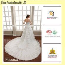 Tela del cordón del Vintage para el vestido de boda con tren de la catedral comprar Naposa del vestido nupcial en línea