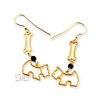 Gold plated Silver 925 earrings with crystals and dog charms