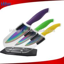 (BK172)quality colorful handle 3pcs stainless steel titanium coating knife