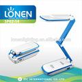 lonen 2014 atacado dobrável flexível tamanho compacto de estudo de leitura operado por bateria recarregável led lâmpada de mesa
