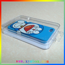 160*90*22MM clear plastic phone case packaging box with clear hook