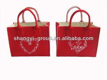 (HD-11B)Heart shape decoration Christmas gift bag,felt Valentine bag
