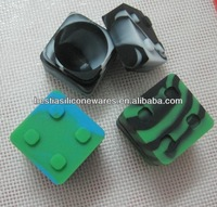 2014 New product food grade non-stick small stackable square silicone container for wax
