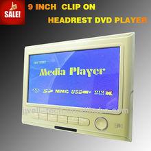 2014 9 inch wireless headrest car dvd player with AV FM IR DVD SD USB