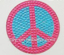 peace sign rhinestone car decal sticker