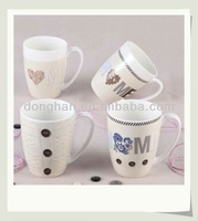ceramic milk mug white botton ceramic cup for sublimation,