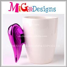 Creative White Mug Chromed Rose Wing Handle Wholesale