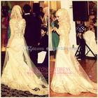 2014China Supplier High Quality Alibaba Patterns New Design Arabic Sheath Long Sleeve Beaded Applique Hijab Muslim Wedding Dress