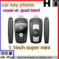 chine mini clé de voiture x6 téléphone de vente chaud