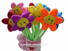 Plush ballpen sunflower,flowers plush pen for souvenir