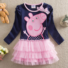 (2688#) 2-6T spring winter cotton long sleeve peppa pig girls pink tutu dress