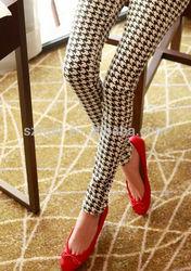 2014 Fashion Woman Houndstooth Milk Silk Bars Leggings High Elastic Ankle Length Trousers Leggings woman china manufacturer
