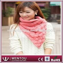 Pineapple pattern triangle women knit scarf