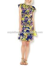 Women's Slash Neck Batik Splash Print Short Sleeve Summer Casual Shift Dress