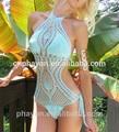 Lado sexy bikinis de ganchillo también llamado de ganchillo trajes de baño, monokini de ganchillo corchet de trajes de baño tankini traje de baño( hcsw0029 blanco)