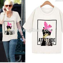 Professional Factory 100% cotton designer fashion dog print t shirt for women