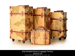 vintage pvc leather trolley luggage /box /suitcase /retro draw-bar box made in huzhou anji