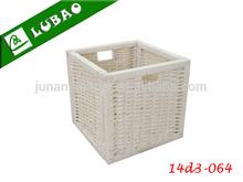 Wholesale white small decorative office wicker storage box