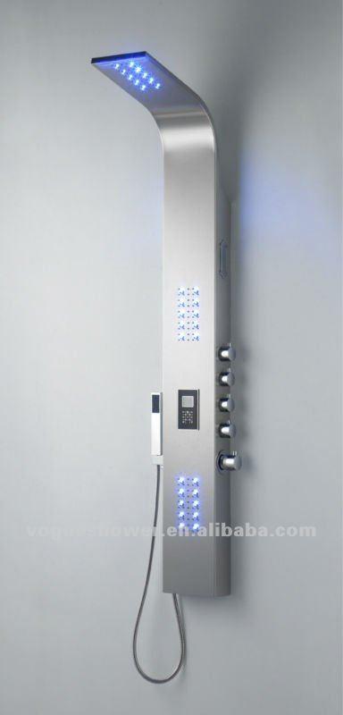 Sanitaire en acierinoxydable ordinateur de contr le led panneau de douche ave - Douche avec radio integree ...
