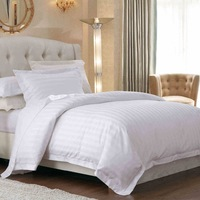 poly mix cotton 3cm satin stripe bed sheet of hotel use