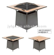 Outdoor Square Fire pit table with Tiles Top