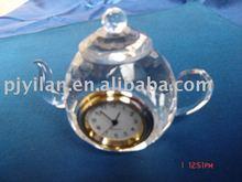 crystal gift ,crystal clock fashion teapot design crystal clock ,
