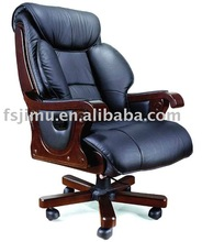 wooden furniture luxurious high genuine leather recliner office chair