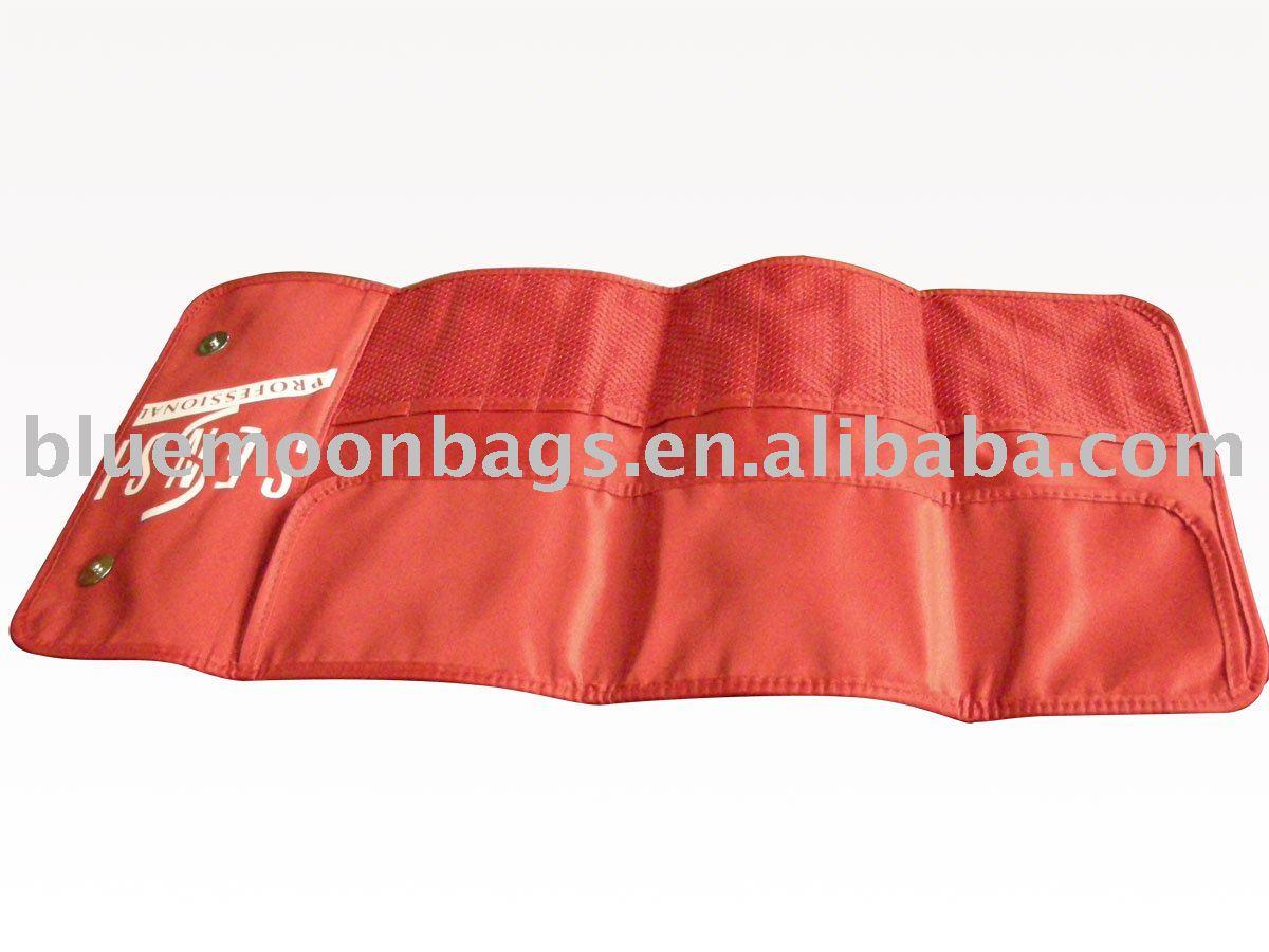 Red make up brushes bag