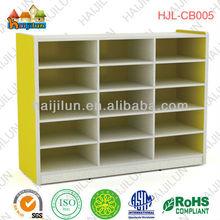 colorful kids school furniture,wooden shoe storage cabinet , children daycare toys storage cabinet