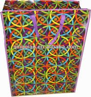 multi-colored circled pp shopping bag