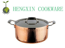new product 3 layers copper clad hammered cooking pot