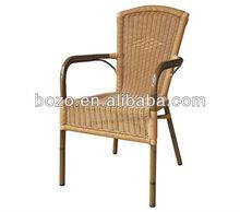 Comfortable rattan chair, outdoor bamboo like chair, garden aluminum chair