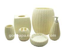 6 pcs white polyresin Bathroom accessory, sanitary ware