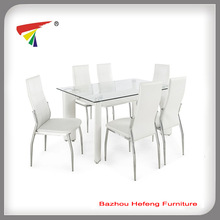 White luxury leather dining table set