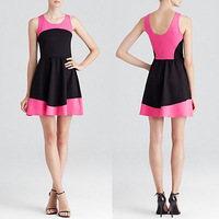sleeveless color block wholesale summer boutique dresses with scoop neck