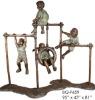Bronze children playing on Monkey Bars sculpture